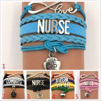 ingrosso migliori regali avvolge-Braccialetto regolabile dell'intrecciatura dell'involucro del cavo dell'inarcazione di amore del cavo della cera Migliore regalo per l'infermiera