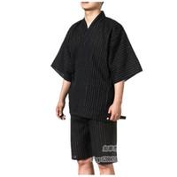 algodón yukata al por mayor-2017 tradicionales japoneses Kimonos Japón de los hombres de algodón Yukata Salón de los hombres Ropa de casa trajes de dormir pijamas de los hombres 062509