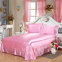 Wholesale queen suite - Embroidered Silk Bedding Suite Bedroom Decor Bedding Silk Flat Bed Modern Soft Satin Bedspread
