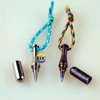 Wholesale Pen Pendant - Outdoor Pure Titanium EDC Ti Burn blue MINI Baseball bat defensive Tactical pen Key Pendant combination Multi Tools