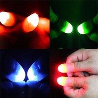 Wholesale flash funny - Funny Novelty Light-Up Thumbs LED Light Flashing Fingers Magic Trick Props Amazing Glow Toys Children Kids Luminous Gifts