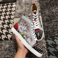 rhinestone spikes studs Australia - Unique No Limit High-top stud and rhinestones casual graffiti glitter leather Pik Pik Spikes Red Bottom Sneakers Luxurious Casual Wedding Pa