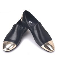 Wholesale copper adhesive - 2018 men black sheepskin shoes with front and back copper buckle Party and Banquet men loafers
