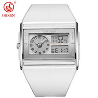 мужские цифровые часы lcd оптовых-OHSEN  Digital Quartz Mens Fashion Sport Watch Wristwatch Dual Time Display 30M Waterproof and White LCD Male clock