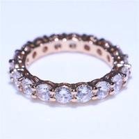 jóia de moda de casamento de ouro rosa venda por atacado-Handmade Rose Gold Filled Anel De Casamento 18 Pcs Diamonique CZ Rodada Anéis De Cristal Para A Moda Nupcial Jóias Presente Tamanho 5-10