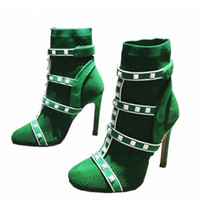 Wholesale Thin Toe Sock Women - Newest Spring Stretch Knit Sock Boots Woman Round Toe Rivet Patchwork Ankle Strap High Heel Boots Women Sexy Ankle Boot
