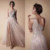 Wholesale One Shoulder Tulle - 2018 New High Side Split Sequined Wedding Dresses Bohemian One Shoulder Lace Appliqued Bridal Gowns vestido de novia BA7859