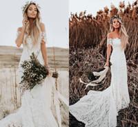 Wholesale long fishtail lace back dress for sale - Group buy 2018 Lover Society Mermaid Wedding Dresses Modest Civil Vintage Crochet Lace Off Shoulder Country Farm Garden Boho Fishtail Bridal Dress