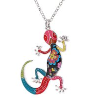 Wholesale lizard necklace jewelry - Lizard Pendant Jewelry for Women Handmade Enamel Gecko Chain Necklaces Gift for Birthday Can be Used as Car Keychain