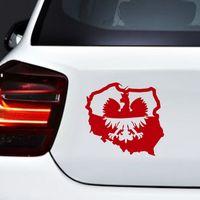 Wholesale Eagles Car Stickers - Fashion Creative Polish Eagle Map Flag Poland Polska Car Body Window Bumper Vinyl Decal Sticker