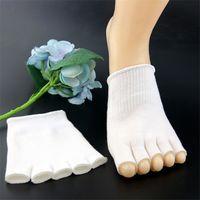 чулки силиконовые чехлы оптовых-Гель носком чулки separat toe обложка с силиконовым увлажняющий СПА носки ног пальмовое покрытие подкладка омоложение ног протектор