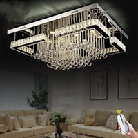 Wholesale flush chrome ceiling lights for sale - Modern Contemporary Crystal Rectangular Chandelier Lighting LED Crystal Pandant Lamp for Living Room Flush Mount Ceiling Lighting Fixture