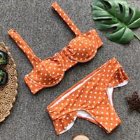 Wholesale cute sexy bikini girl - girls cute dot bikini set sexy flouncing push up monokini swimsuit bandage underwire biquini maillot de bain femme traje de bano