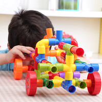 Wholesale toy pipes - 72 PCS Children Water Pipe Colorful Self Locking Bricks Plug Match Building Blocks Tunnel Plastic Kids Educational Toys For Kids