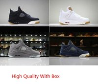 Wholesale high quality jeans men - 2018 High Quality 4 Denim Jeans Travis White Jean Men IV 4S Shoes Black Sports Sneakers Trainers Basketball Shoes With Box