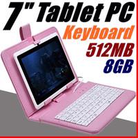 tela externa q88 venda por atacado-2018 Q88 7 polegada Android 4.4 Allwinner A33 Tela Capacitiva Quad Core 512 MB 8 GB Câmera Dupla Tablet PC Externo com teclado A-7PB