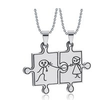 Wholesale Cute Christmas Couples Gifts - Cute Boy Girl Puzzle Pendant Couple Necklace For Women Men Stainless Steel Lovers Jewelry Valentine's Day Gift