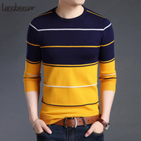 koreanische kleidung männer neuen stil großhandel-2018 Neue Mode Marke Pullover Herren Pullover Gestreiften Slim Fit Pullover Strickwaren Woolen Herbst Koreanischen Stil Casual Männer Kleidung