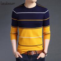ropa coreana hombres nuevo estilo al por mayor-2018 nueva marca de moda suéter para hombre pullover rayas slim fit jumpers knitred lana de otoño estilo coreano ocasional ropa para hombres
