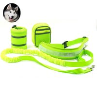Wholesale reflective dog collars leashes - Multifunction Hands Free Dog Leash Training Suit Pet Dogs Reflective Stripe Adjustable Waist Belt with Pouch Bag for Walking Running