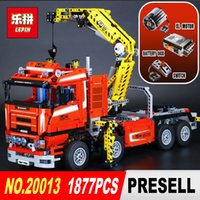 Wholesale New Electric Toys - NEW LEPIN 20013 technic series 1877pcs The Electric Crane Truck Model Building blocks Bricks Compatible 8258 Toy Christmas Gift
