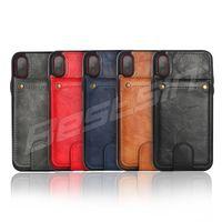 étui pivotant vertical achat en gros de-Vertical Flip Case en cuir pour iPhone X 7 Plus Retro Cover Case pour iPhone 8 Plus Wallet Titulaire de la carte 2 en 1 pochette