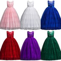 Wholesale cheap babies dresses for parties - Cheap 2018 Baby Girl Dress Lace Princess Kids Birthday Communion Gowns Formal Party Wears For Teens MC1699