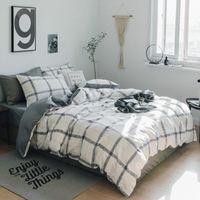 hojas a cuadros grises al por mayor-Juego de sábanas de edredón de cuadros gris Juego de sábanas de edredón / sábanas de cama Juego de sábanas de cama de algodón 100% Rey de reina completo Queen Roupa De Cama