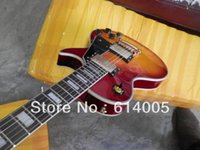 Wholesale yellow color guitar online - LP custom New arrival Orange red color yellow binding Electric Guitar