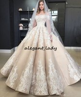 Wholesale sweep wedding dress puffy for sale - Group buy Vintage Puffy Champagne Wedding Dresses Off The Shoulder Applique Off Shoulder Full length Church Garden Princess Wedding Gown