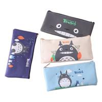 totoro taschen großhandel-Student Cartoon Totoro Bleistift-Kasten Nette-Schule-Briefpapier Geschenke Büro Schulbedarf Schulbedarf Stationery scherzt Geschenk Briefpapier-Beutel