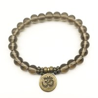 Wholesale balance charms for sale - Group buy SN1333 Vintage Design Yoga Bracelet Natural Smokey Quarz Bracelet Ohm Charm Meditative Yogi Balance Bracelet