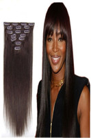 "Wholesale light brown clip human hair - 70g 100g 120g 160g Full Head Silky Straight Remy Clip in Human hair extension Black Brown Blonde optional 16"" - 26"""
