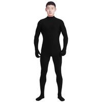 siyah adam kostümü toptan satış-Ensnovo Erkekler Lycra Spandex Takım Balıkçı Yaka Siyah Unitard One Piece Tam Vücut Özel Cilt Sıkı Hiçbir Kafa Unisex Cosplay Kostümleri