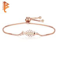Wholesale bone links gold chain resale online - 2018 Fashion Women Bracelets Blue Opal Gem Stone Fish Bone Silver Charm Bracelet Rose Gold Chain Adjustable Bracelets Jewelry
