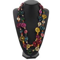 ingrosso handmade shell necklace-BeUrSelf Collana di perline multicolore per donne Shell di noce di cocco Boemia lavorata a mano perline di legno rotondo Collana di gioielli etnici lunghi