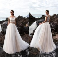 Wholesale two piece wedding dresses for sale - Two Pieces Tulle A Line Summer Beach Wedding Dresses Bohemia Lace Top Floor Length Wedding Bridal Gowns With Buttons BA9503