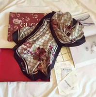 poncho americano al por mayor-Nueva primavera de alta calidad clásica europea y americana marca de diseñador de moda de lujo impresa bufanda de seda elegante dama envolver