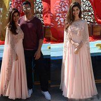 vestidos formales con cuentas indias al por mayor-Blush Pink Indian Kaftan Árabe Mujeres Vestidos de noche con abrigo 2018 Sheer Beaded Custom Make Formal Ocasión Vestidos de fiesta de fiesta