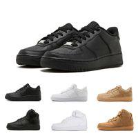 entraîneur d'air faible achat en gros de-Nike AIR FORCE 1 one Nouveau Classique forçant Vente Chaude Tout Haut et bas Blanc noir Blé hommes femmes Sport baskets Chaussures de Course Force de skate Chaussures taille 36-45