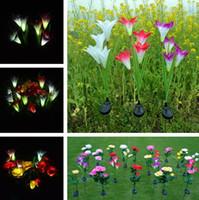 ingrosso fiori di giardino solare potenza-4 teste di energia solare fiore giglio LED luce solare lampada prato lampada 3 colori illuminazione esterna luci decorazioni da giardino 100 pz / lotto T2I383