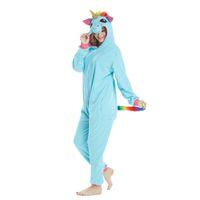 ingrosso pigiama unicorno blu-Corno d'oro Blue Unicorn Onesies Adult Animal Shark Pigiama Lemur Sleepwear Pikachu Pigiama Carnevale Costumi Cosplay