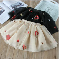 Wholesale Embroideried Sequin - Kids TUTU skirts Girls Stars love hearts sequins pleated tulle skirts 2018 new Spring Summer Kids embroideried princess gauze skirts C2658