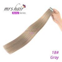 atkı insan saçı paketi toptan satış-MRSHAIR Cilt Atkı Bandı İnsan Saç Uzantıları 18 # Sarışın 100% Brezilyalı İpeksi Düz Doğal Saç Uzantıları 20 Parça / paket