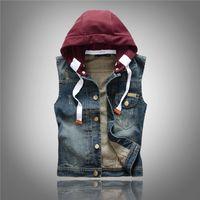 Wholesale Korean Men Jacket Free Shipping - Korean Slim Denim Vests Hoodies Mens Denim Jackets Sleeveless Outwear Coats Hip Hop Wistcoats Free Shipping 2018 M L XL XXL XXXL