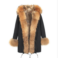 Wholesale Women Snow Jacket Fur - 2018 Jazzevar brown fur trim brown and white fox fur lining black long parkas women snow coats ladies jackets