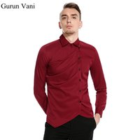 цвет уникальная рубашка оптовых-Unique Hem Oblique Access Design Men's Long Sleeve Shirt Pure Color Style Mens Party Dress Shirt Casual Male  clothes
