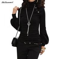 ingrosso lunghe parti di lavoro-Dolcevita gotico Camicetta a maniche lunghe da donna ufficio nero da donna indossare a camicetta da lavoro Blusas Abbigliamento donna Taglie grandi Femme Top