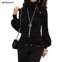 ofis giyim topları toptan satış-Gotik balıkçı yaka Kadın Uzun Kollu Bluzlar siyah ofis bayanlar bluz Blusas Giymek Kadın Giyim Büyük Boy Femme Tops