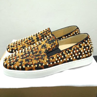 Wholesale Leopard Spike Shoes - Red bottom Slip-on Flats men women leopard fur fashion shoes pik boat roller boat casual shoes shiny sole spike sneakers unisex party shoes